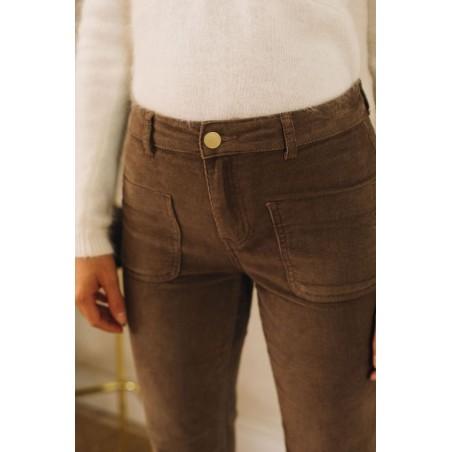 Pantalon Sonny velours (taupe)