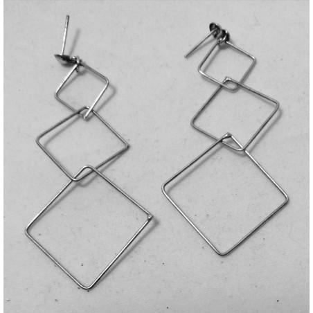 Boucles d'Oreilles Argent carrés entrelacés